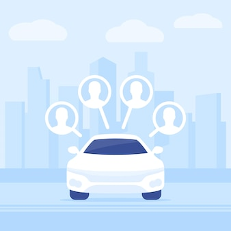 Carsharing service, rental car in the city, vector illustration