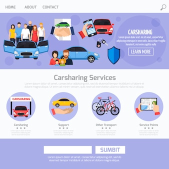 Carsharing service webテンプレートのレイアウト