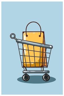 Иллюстрация шаржа тележки и сумки одежды