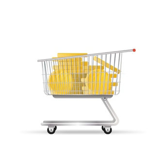 The cart from the supermarket is filled with gold coins. shopping trolley, gold coins, money. the concept of cashback and savings on purchases.
