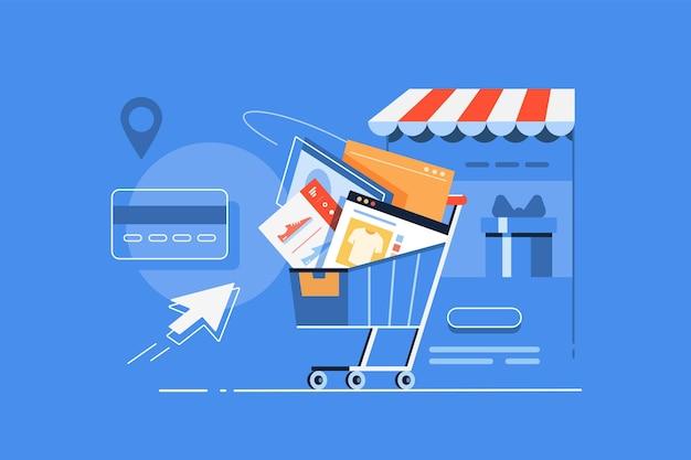 Cart full of online shopping orders