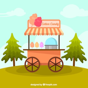 Cart in flat design of cotton candy set