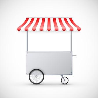 천막이있는 카트. 모바일 길거리 음식 배달. 바퀴로 쇼핑하십시오.