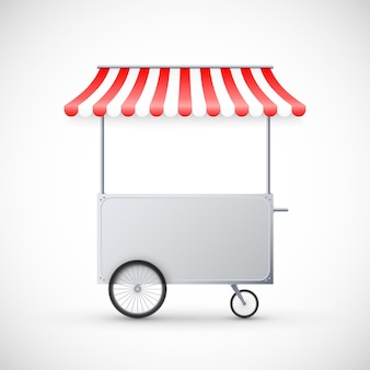 Cart with awning. mobile street food delivery. shop on wheels.