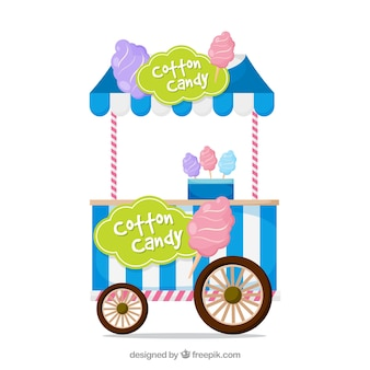 Cart with blue stripes of cotton candy background