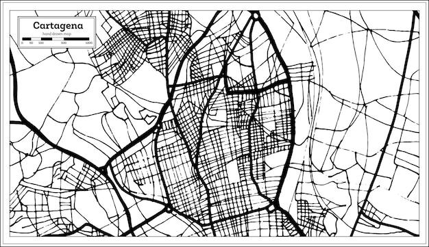 복고 스타일의 카르타헤나 스페인 도시 지도입니다. 개요 지도. 벡터 일러스트 레이 션.