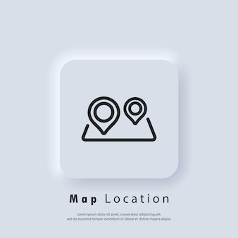Cartography icon. map location icon. map pin. route location. vector eps 10. ui icon. neumorphic ui ux white user interface web button. neumorphism