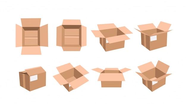Картонная коробка открыта Premium векторы
