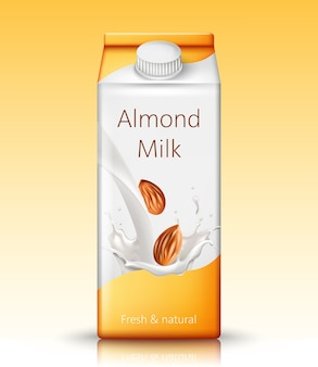 Carton box with almond milk
