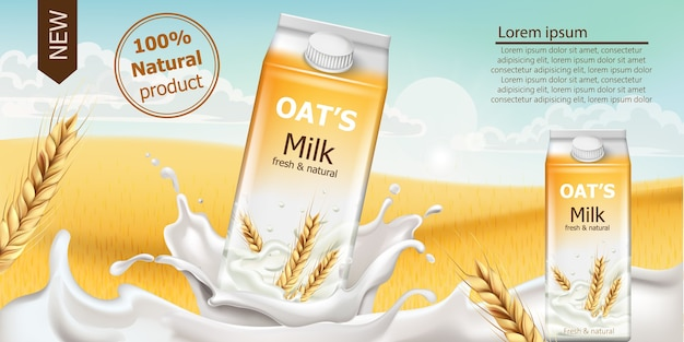 Carton box with fresh and natural oat milk in a field full of grains. blue cloudy sky. realistic . place for text