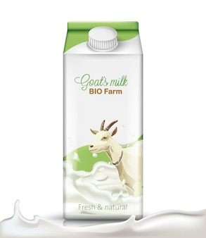 Carton box with a goat submerged in milk on it. fresh and natural. realistic.