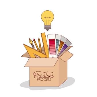 Carton box with graphic design elements inside Premium Vector