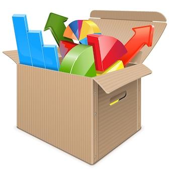 白い背景で隔離の統計情報を持つカートン ボックス