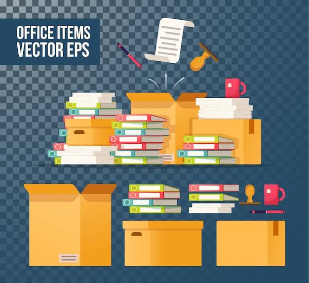 Картонные коробки изолированы. бюрократия, оформление документов, офис. работа с архивом.