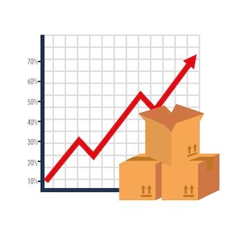 Carton boxes with arrow up statistics