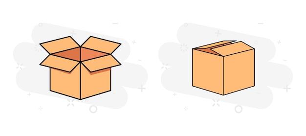 Картонная упаковка для доставки. шаблон макета пустой упаковочной коробки. картон. открытая и закрытая картонная коробка. упаковочные коробки