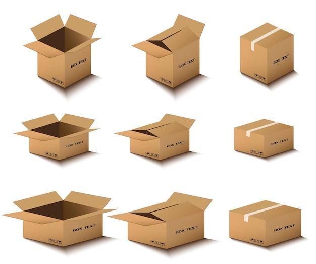カートン配送パッケージは、壊れやすい標識のある開閉ボックスです。段ボール箱セット。