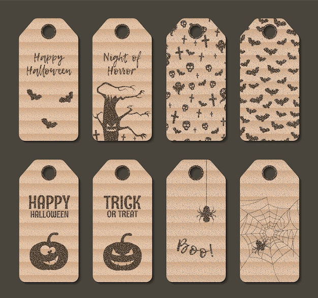 Carton happy halloween gift label tag set.