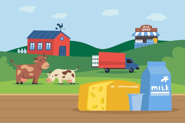 Carton of milk and cheese in front of milk farm illustration