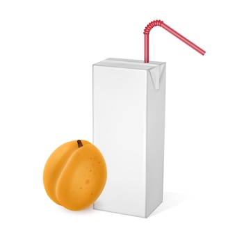 The carton packages of apricot juice isolated