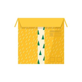 配達アイコン用の粘着テープ付きカートンパッケージ。郵便小包、パック、箱、手紙、封筒のセット。オンライン配信サービスのコンセプトの小包。分離されたベクトル