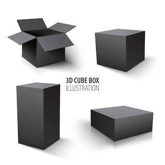 Carton packaging 3d black box and cube set. set of open cardboard boxes and cube.