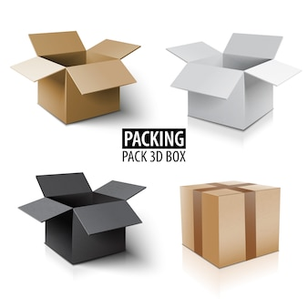 Carton packaging 3d box. delivery set of different color packages.