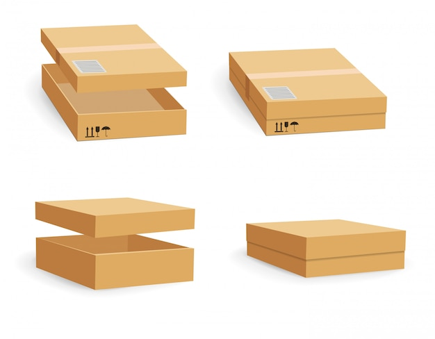Carton packaging box. delivery set of different sized packages with postal signs of fragile. set of closed and open cardboard boxes on white background.
