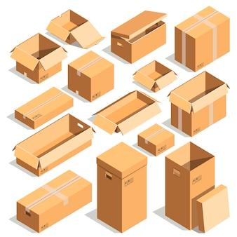 カートン紙箱または段ボールのポストパッケージベクトルテンプレート