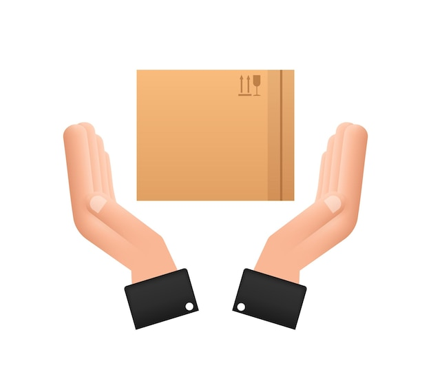 Carton parcel box in hands. shipping delivery symbol. gift box icon. vector stock illustration.