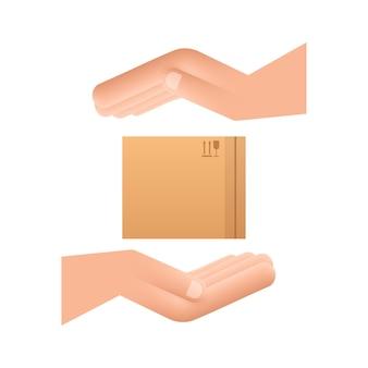 手にカートン小包ボックス。配送配送シンボル。ギフトボックスのアイコン。ベクトルストックイラスト。