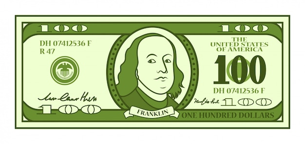 Cartoon 100 dollar bill with stylized franklin portrait