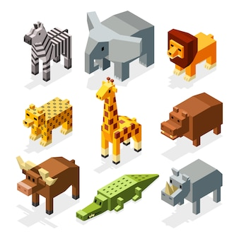 Cartoon 3d isometric african animals. characters set