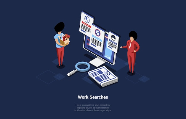Cartoon 3d isometric illustration on dark background. work searches concept vector composition. two characters looking at computer screen with job vacancies. magnifier near. recruitment ideas art.