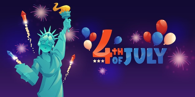 Cartoon 4th of july - independence day banner template