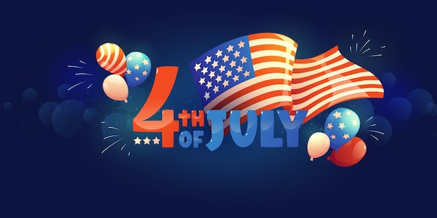 Cartoon 4th of july - independence day banners set