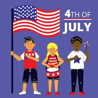 Cartoon 4 luglio giorno dell'indipendenza illustrazione
