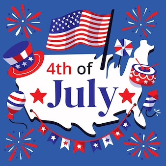 Cartoon 4th of july independence day illustration