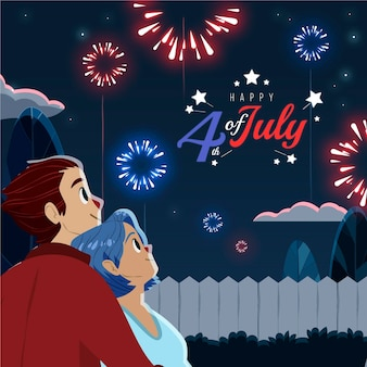 Cartoon 4th of july - independence day illustration