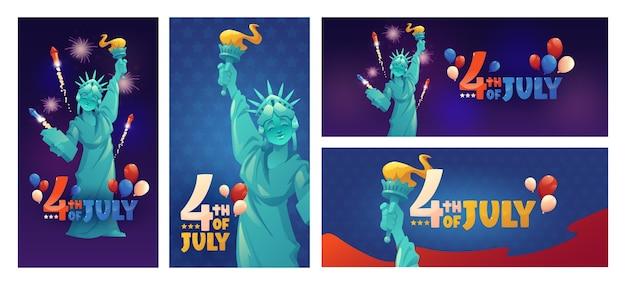 Мультфильм 4 июля - набор баннеров день независимости