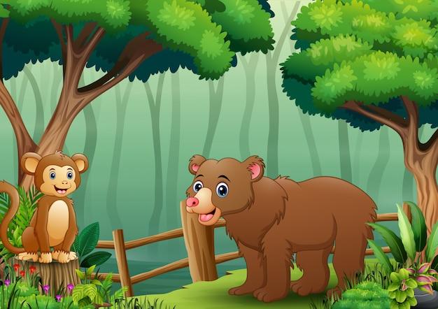 나무 울타리 안에 곰과 원숭이 만화