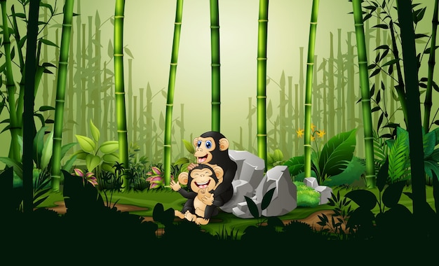 竹林で彼女の子とチンパンジーを漫画