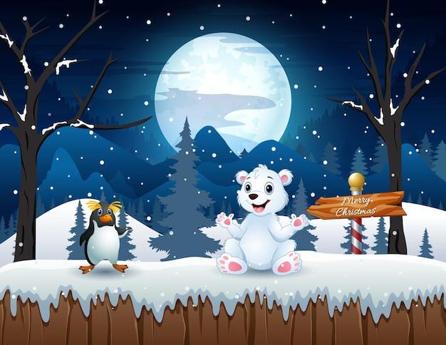 雪原のイラストでホッキョクグマとペンギンを漫画