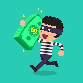 大きなお金のスタックを運ぶ泥棒を漫画