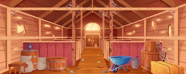 Cartoon abandoned barn interior with spiderweb and destroyed walls