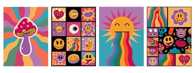만화 추상 재미있는 만화 초현실적인 패치 포스터입니다. 트렌디한 만화 복고풍 요소, 귀여운 낙서 이모티콘 문자 벡터 배경 그림. 추상적인 만화 모양 카드