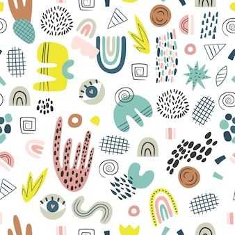 Cartoon abstract seamless pattern hand drawn irregular shapes with dots stripes and lines isolated