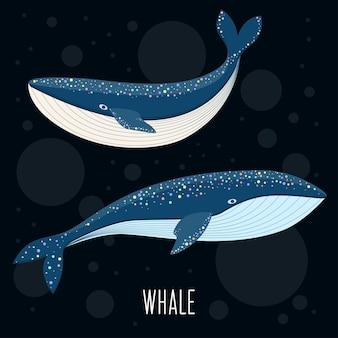 Мультяшный абстрактный кит.