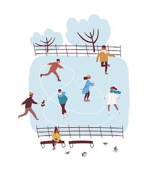 冬の公園のベクトルフラットイラストでアイススケートを楽しんでいる漫画アクティブな人々。白い背景で隔離のリンクでの野外活動中のカラフルな男性と女性。雪景色のパノラマ。
