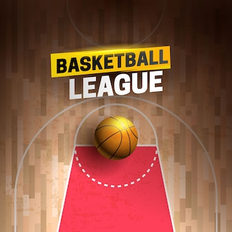 Cartoon ad poster, banner with basketball league